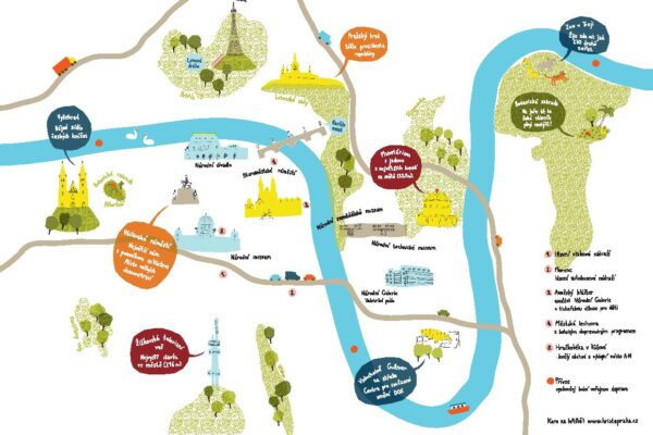 Dětská obrázková mapa Prahy