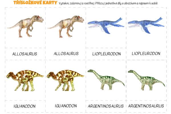 *NOVÉ* Dinosauří třísložkové karty