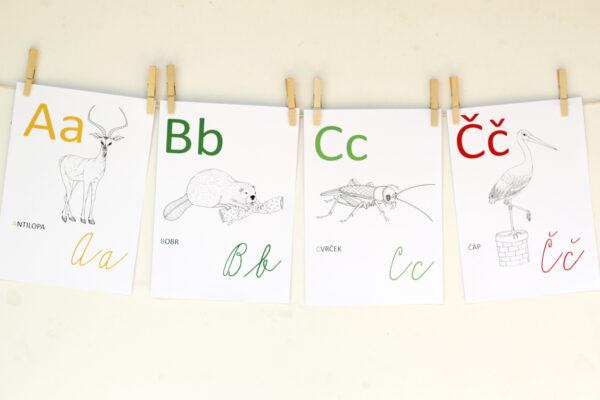 Zvířecí abeceda k vybarvení – listy A4